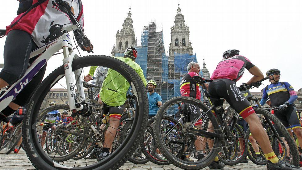 Concentraciónde ciclistas en Santiago