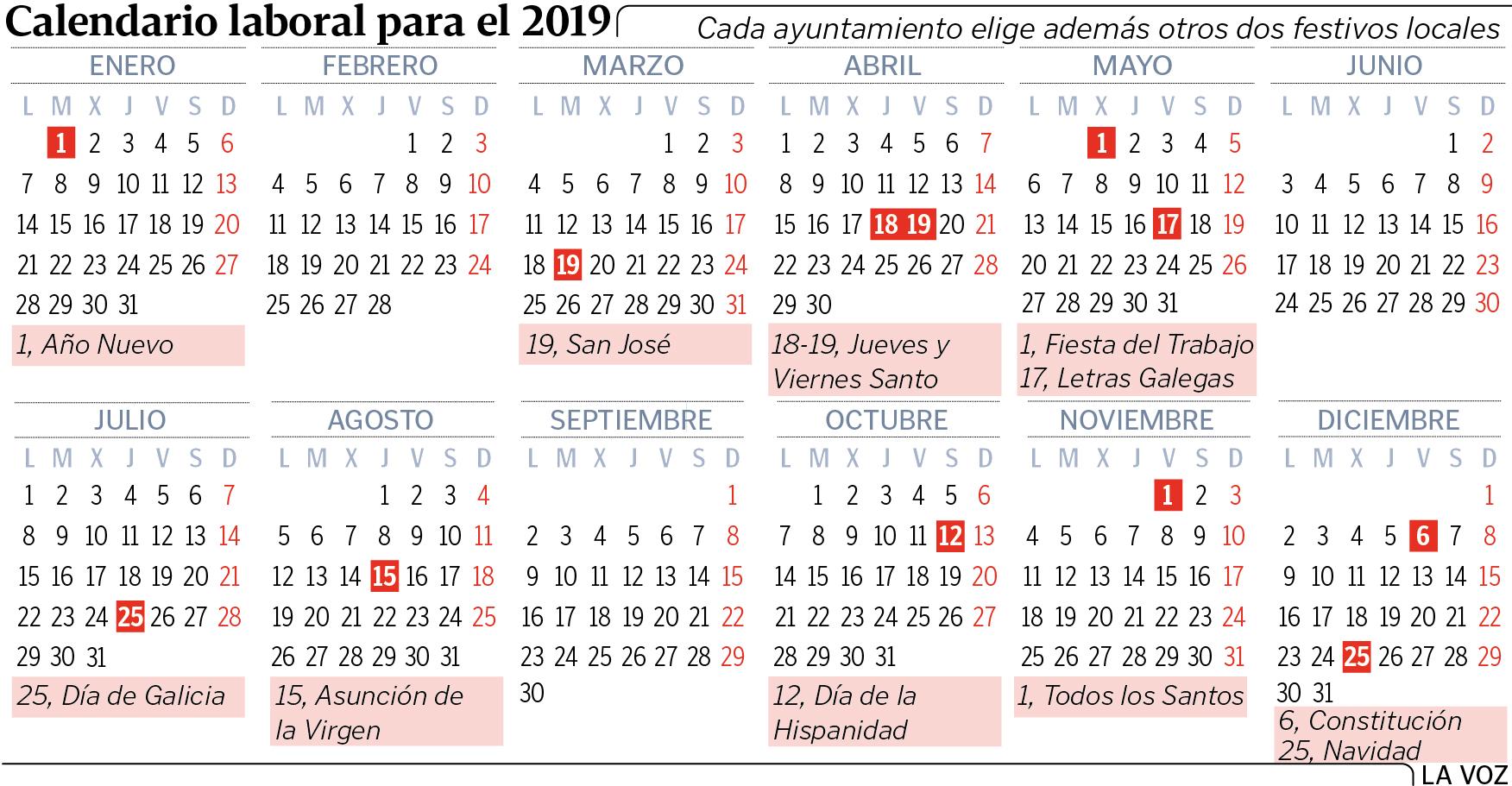 Calendario Laboral Vigo 2020.El Calendario Laboral Del 2019 Permitira Hasta Ocho Puentes