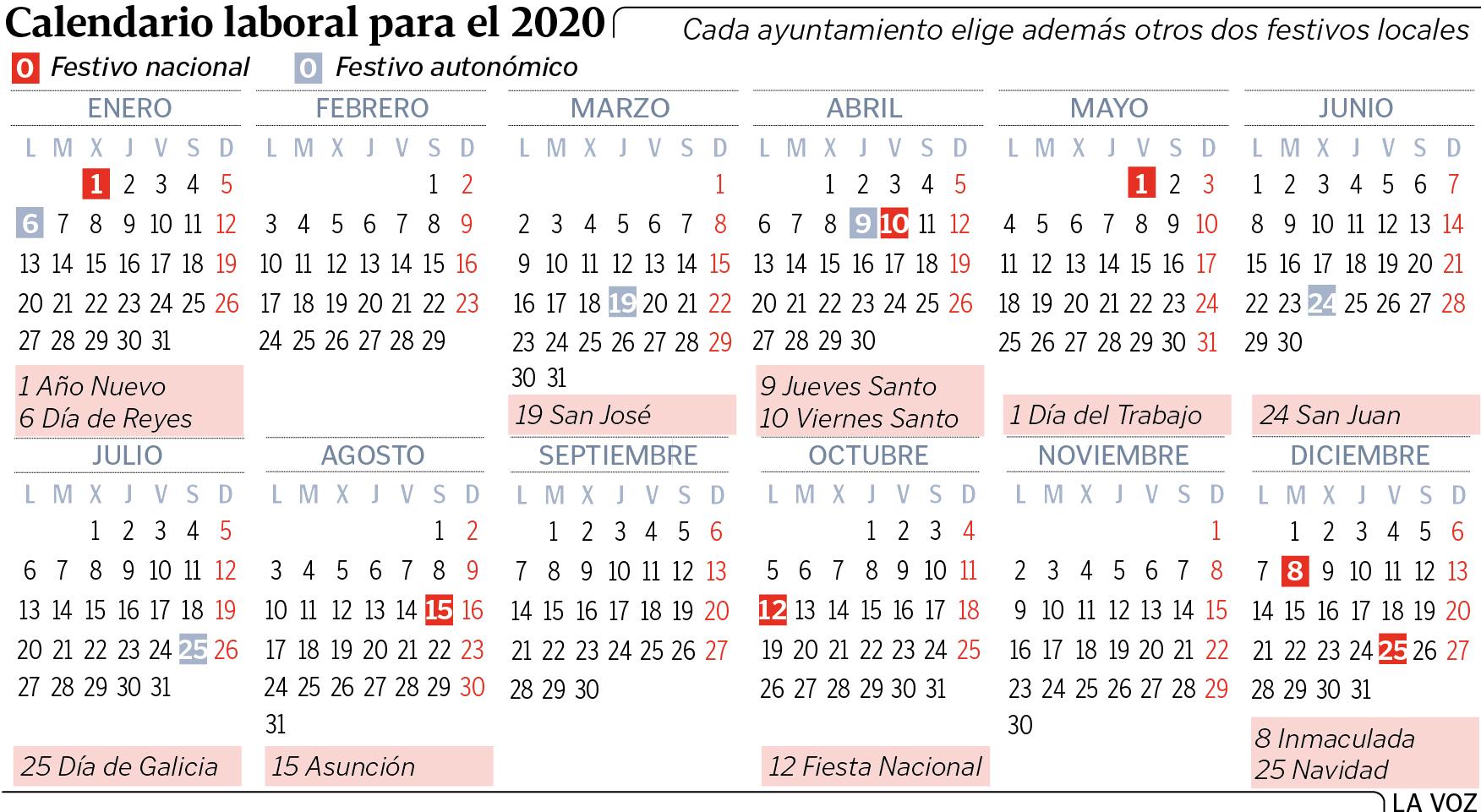 Calendario Laboral 2020 Galicia Doga.Estos Seran Los Festivos En Galicia En El 2020