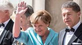 Merkel, a su llegada al festival