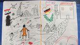 El dibujo que emociona a Alemania. La policía alemana difundió ayer el dibujo que un niño sirio desconocido dejó colgado en la comisaría de Passau, en Baviera, y que compara los dos mundos de su vida, el que dejó atrás y el que le espera: la diferencia entre la guerra y la paz.
