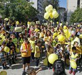 La protesta inundó ayer de amarillo la plaza de Barcelos.