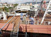 Uno de los últimos trabajos llevados a cabo en el astillero situado en Teis.