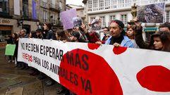 Concentración por los derechos de los animales en Santiago