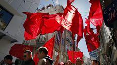 Manifestación del Primero de Mayo en Ribeira