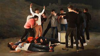 Alumnos del instituto Galaxia, de Ribeira, posan imitando la pintura de Goya.