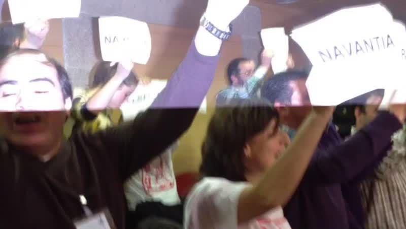 Protesta de trabajadores de Navantia en el pleno del Parlamento