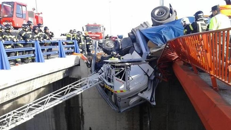 Espectacular accidente de tráfico en Madrid