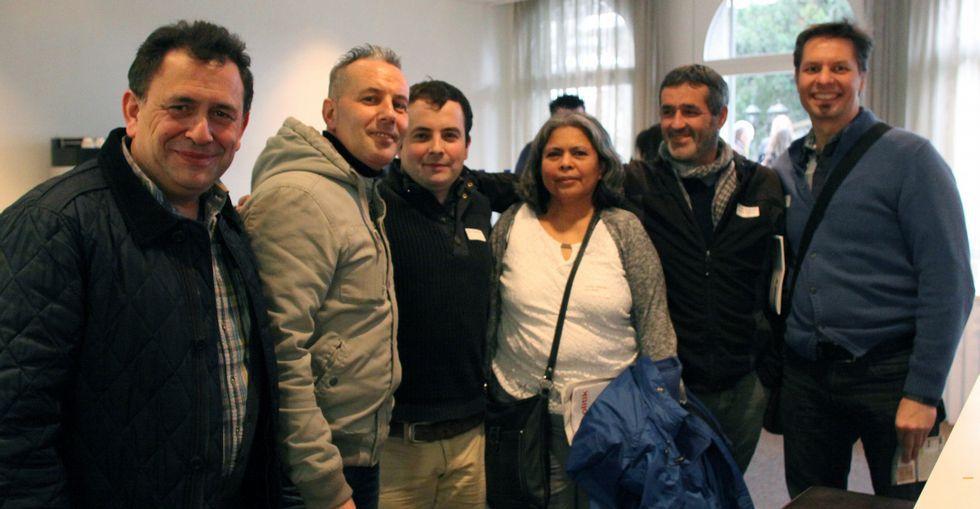 Abelenda (tercero por la izquierda) y Casais (quinto), con otros delegados, en Berna.