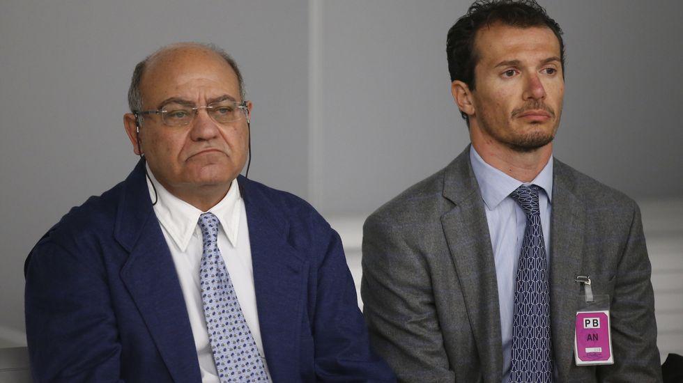 El expresidente de la Confederación Española de Organizaciones Empresariales (CEOE) y de Confederación Empresarial de Madrid (CEIM), Gerardo Díaz Ferrán, junto al último director de Viajes Marsans, Iván Losada.