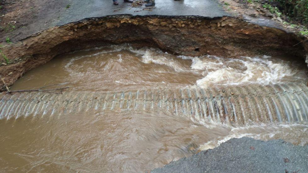 Incidencias del temporal en Frades, en Ponte Raselo, en la pista que va de Raselo (parroquia de Gafoi) a la parroquia de Vitre.
