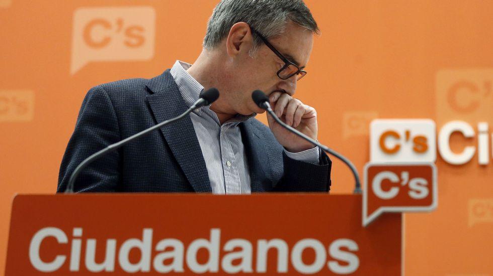 El vicesecretario general de Ciudadanos, José Manuel Villegas, durante una rueda de prensa