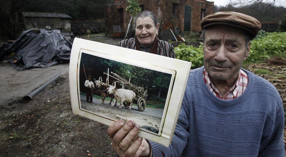 Hilario e a súa dona que lles fixeron hai xa moitos anos do seu carro e as vacas que agora estrañan.