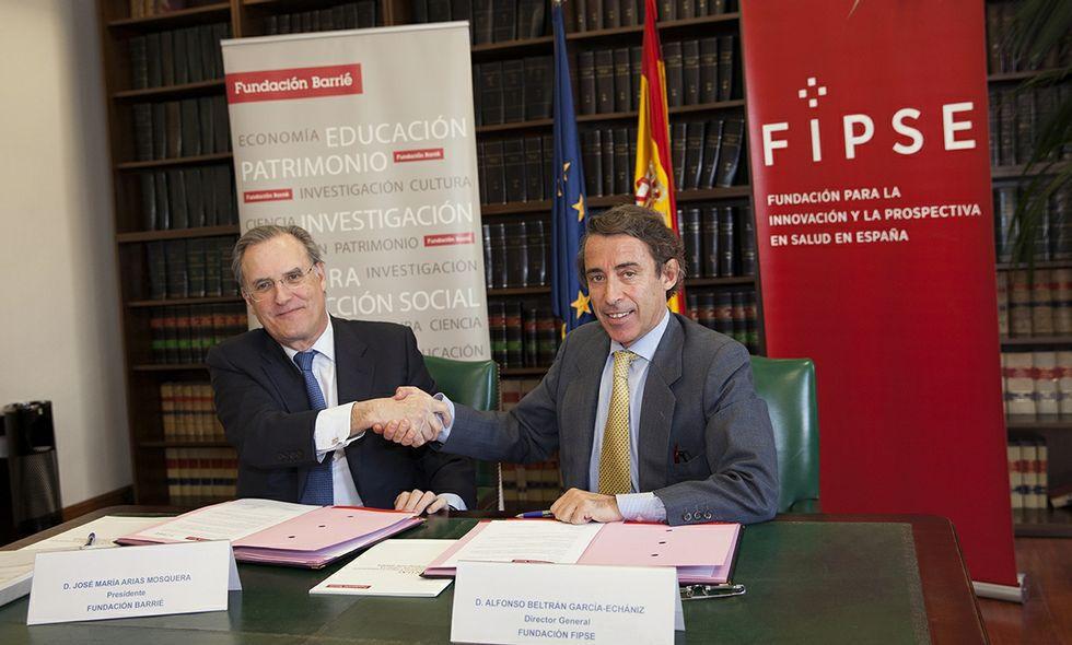 El presidente de la Barrié y el responsable de la Fundación FIPSE firmaron ayer el convenio en Madrid.