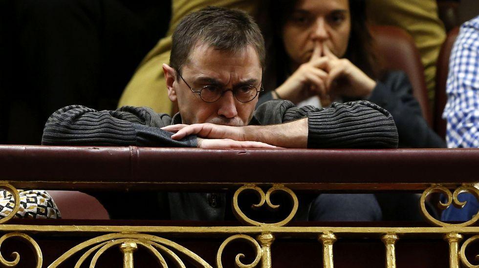 Juan Carlos Monedero en el congreso durante la primera jornada de la sesión de investidura de Pedro Sánchez.