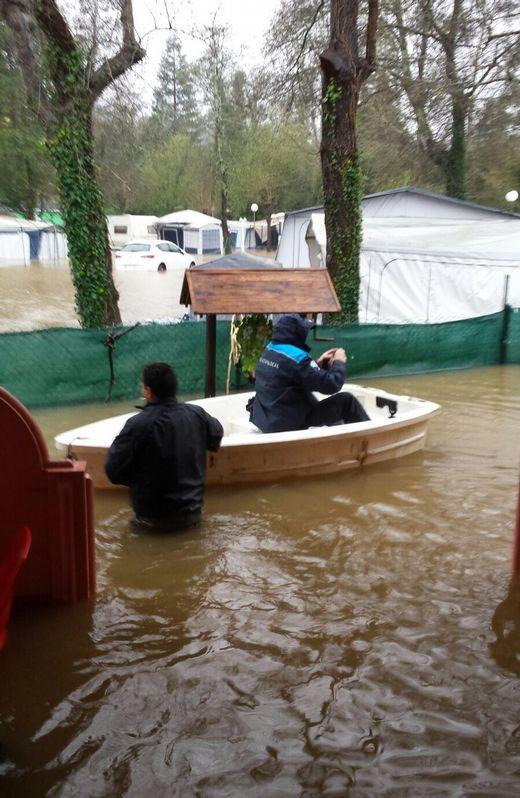 Inundaciones en el camping de Gandarío Lluvias en A Coruña y comarca