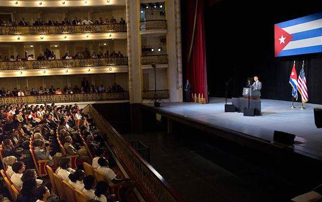 El presidente de EE.UU., Barak Obama, en el Centro Gallego en su reciente e histórica visita a Cuba