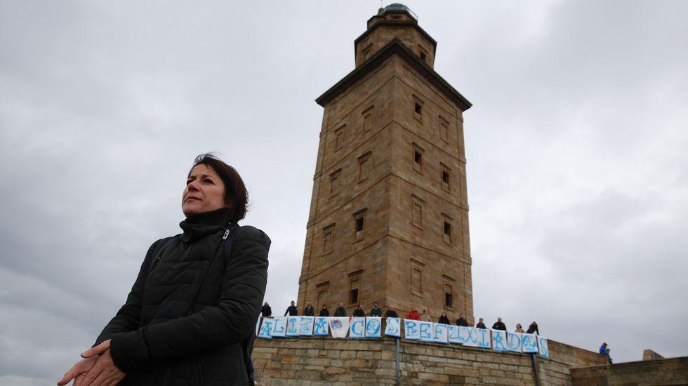 Ana Pontón en un acto del BNG en favor de los refugiados