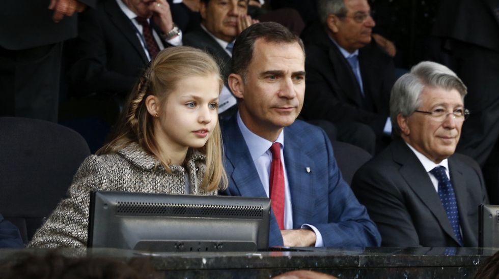 La princesa Leonor, junto al rey en el Atlético-Bayern