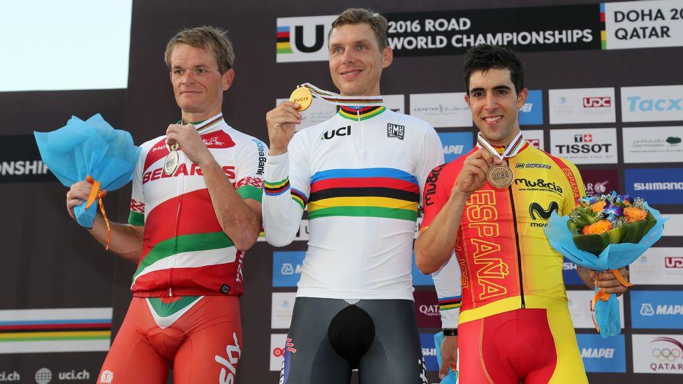Tony Martin gana el oro. Kiryienka y Castroviejo lo acompañan en el podio